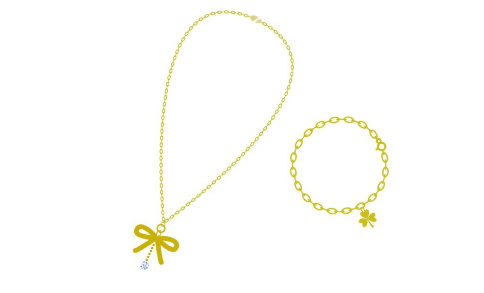 金のペンダントとネックレスのイラスト