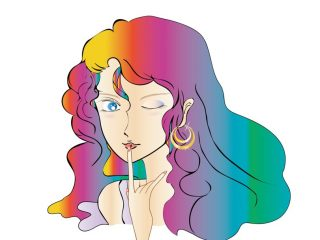 ピアスをつけた妖艶な女性のイラスト
