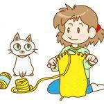 ハンドメイドで毛糸を編んでいる女性と猫のイラスト