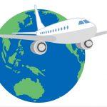 地球と飛行機のイラスト