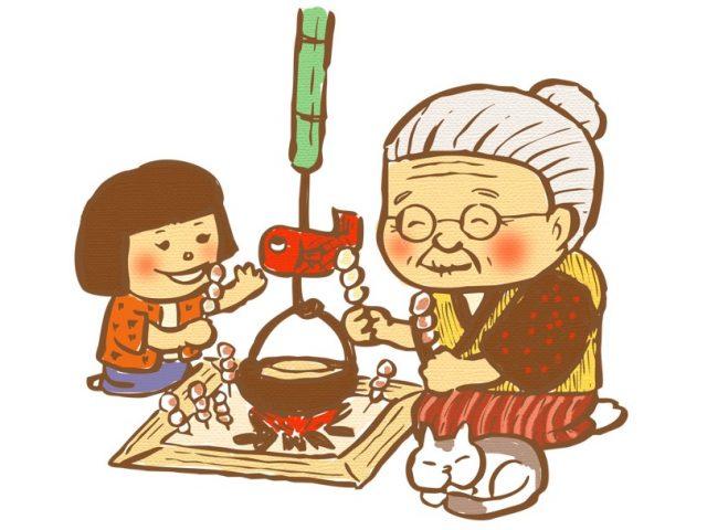 おばあちゃんと孫がいろりで団子を焼くイラスト