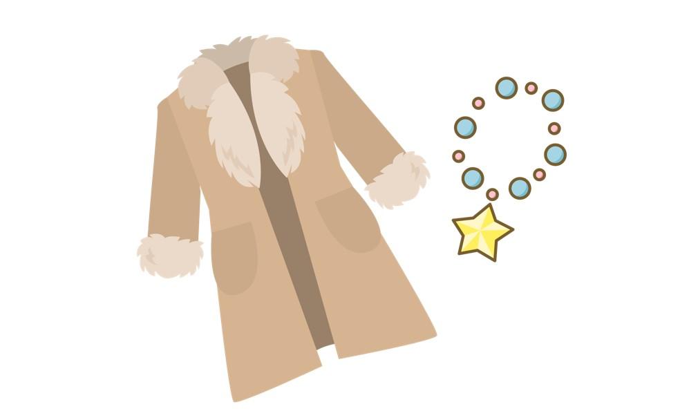 コートとネックレスのイラスト