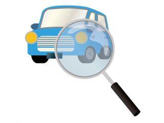 青色の車を査定しているイラスト