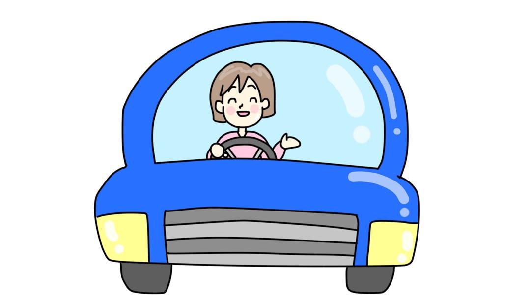 青い車に乗った笑顔の女性のイラスト