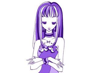 妖艶な魅力を持つ紫色の女性のイラスト