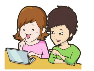 パソコンを見る男性と女性のイラスト