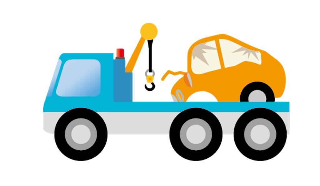 ロードサービスをするレッカー車と運ばれる事故車のイラスト