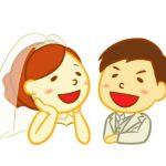 新婚夫婦がラブラブのイラスト