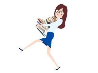 資料を運ぶ女性のイラスト