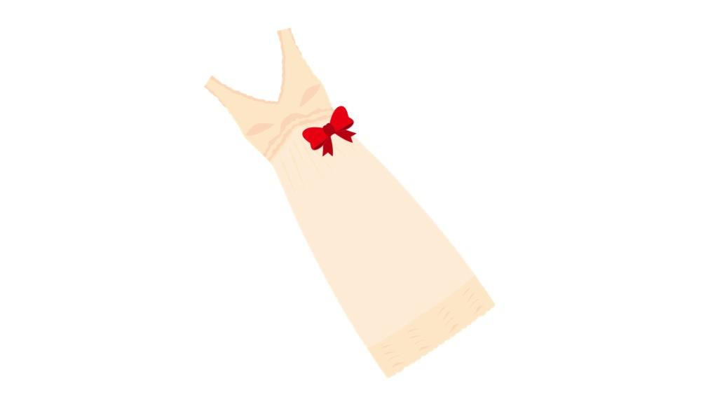 赤いリボンが可愛いベージュのワンピースのイラスト