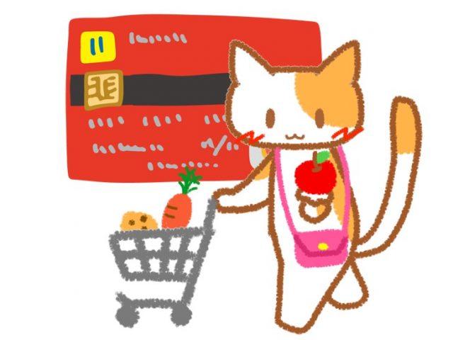 赤のクレジットカードの前で買い物をする猫のイラスト