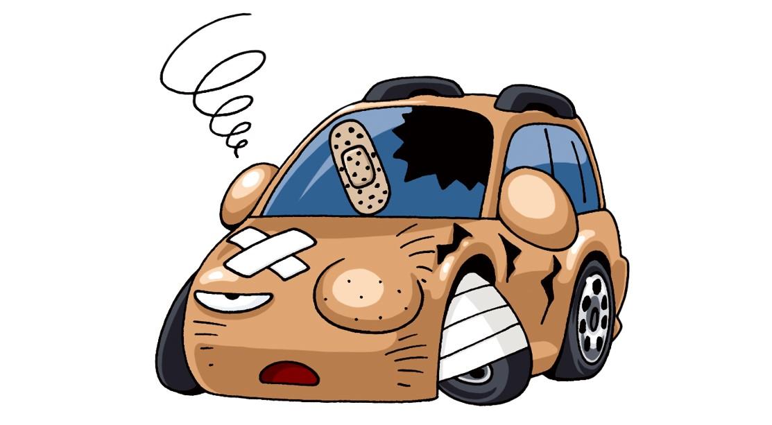 茶色の事故車のイラスト