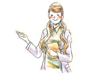 笑顔でおすすめする女性のイラスト