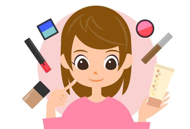 化粧品を使う女性のイラスト