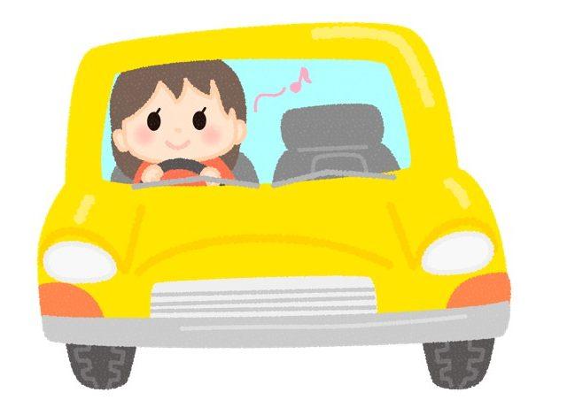 黄色の車に乗る女性のイラスト
