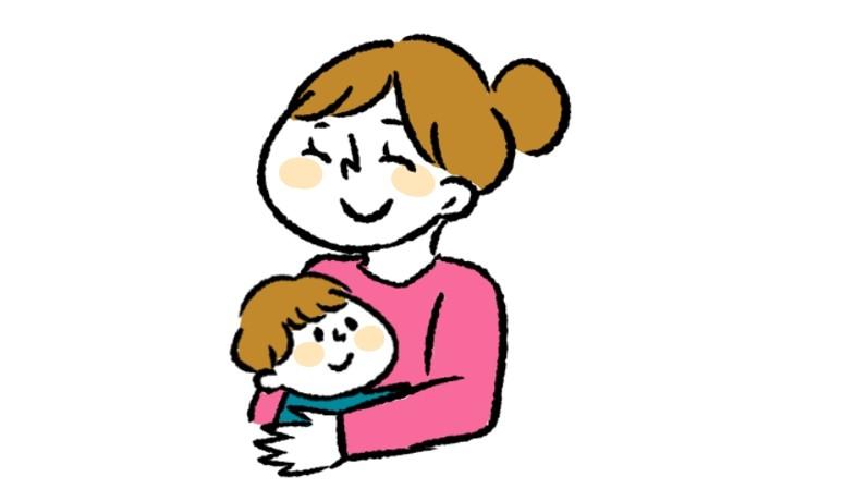 子供を抱っこする笑顔のママのイラスト
