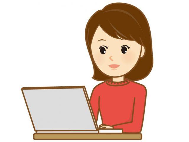 パソコンを操作する真面目な女性のイラスト