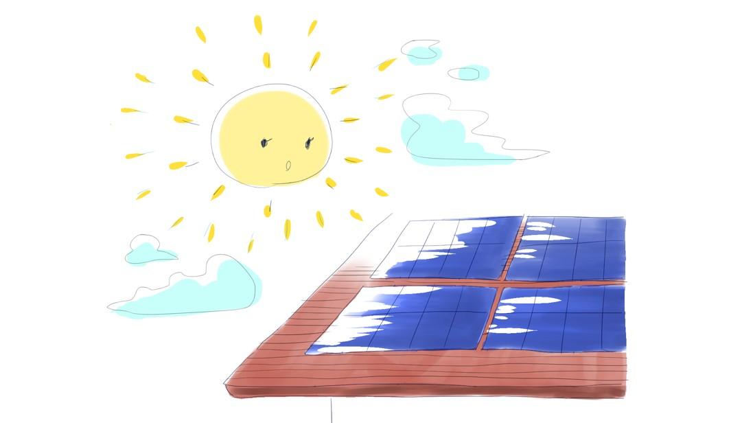 太陽光発電を屋根に付けたイラスト