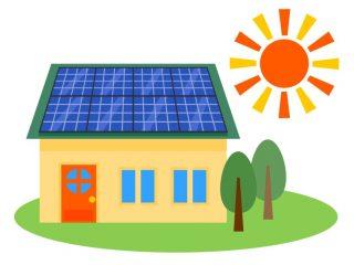 太陽光発電を設置した家と太陽のイラスト